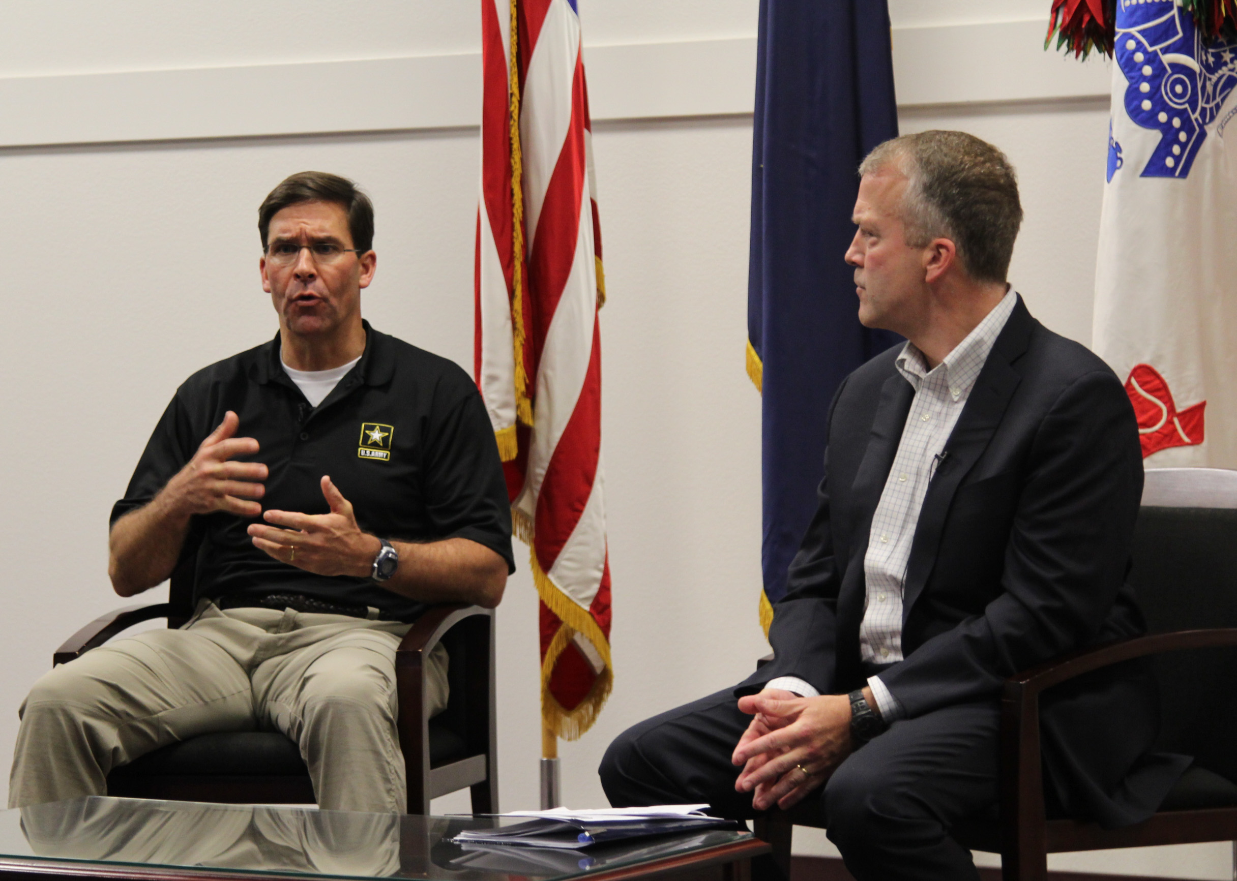 Army Secretary Mark Esper with Senator Dan Sullivan during a visit to Joint Base Elmendorf-Richardson. (Photo by Zachariah Hughes/Alaska Public Media)
