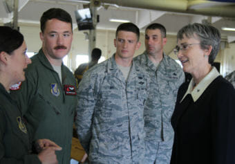 Air Force Secretary Heather Wilson visits Air Force personnel at Joint Base Elmendorf-Richardson during her first visit to Alaska since taking over the branch (Photo by Zachariah Hughes/Alaska Public Media)
