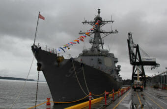 USS Momsen docked at the Port of Anchorage during the Arctic Maritime Symposium at Joint Base Elmendorf-Richardson (Photo by Zachariah Hughes/Alaska Public Media)