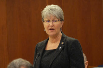CROPPED Sen. Anna MacKinnon, R-Eagle River, expresses her views on a state operating budget bill in April. MacKinnon voted Monday to close the Unalaska legislative information office, but not to add hours to the other LIOs. (Photo by Skip Gray/360 North)