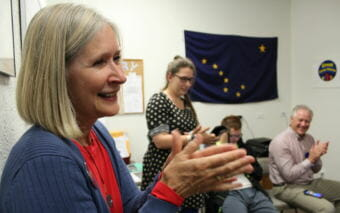 Andi Story celebrates the primary results with volunteers at her campaign headquarters in Juneau on Aug. 21, 2018. Storyis the Democratic nominee for House District 34.