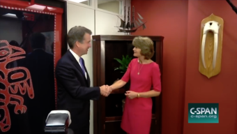 C-SPAN captured U.S. Supreme Court nominee Brett Kavanaugh meeting with Sen. Lisa Murkowski at her office in Washington, D.C., on Aug. 23, 2018. Then, they continued meeting behind closed doors.