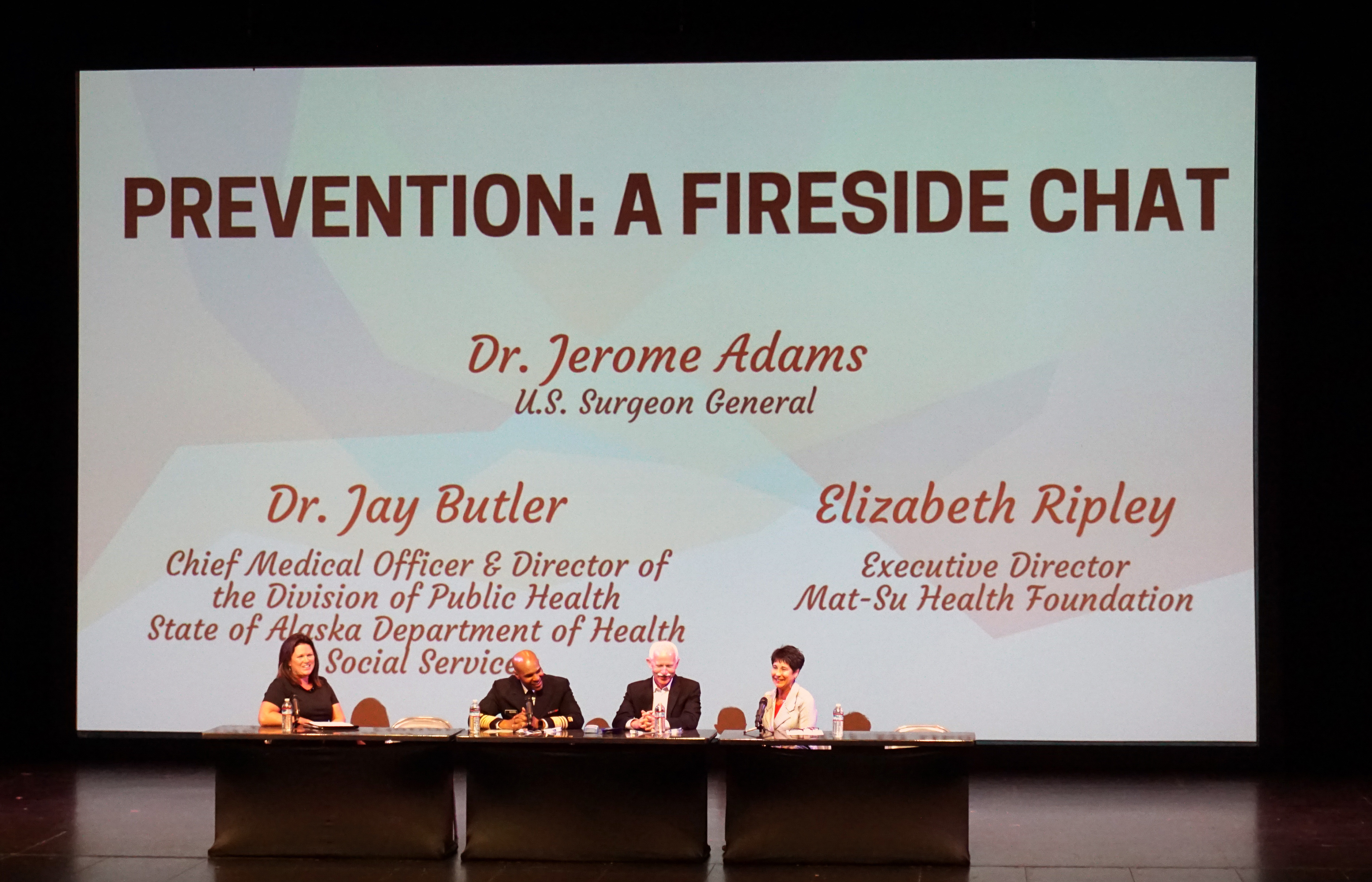 Stephanie Allen, left, Surgeon General Jerome Adams, Jay Butler and Elizabeth Ripley are part of a panel discussion at the Prevention Summit in Palmer. (Photo by Anne Hillman)
