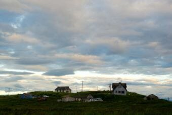 Houses in Pilot Point on a summer night. (Photo by Mitch Borden/KDLG)