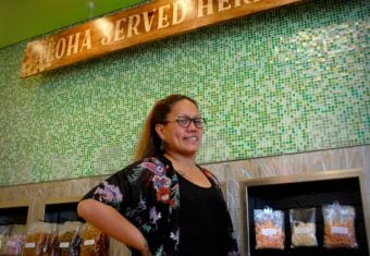 Tasha Kahele is a native Hawaiian and owner of Lei's Poke Stop in Anchorage. (Photo by Emily Russell/Alaska Public Media)