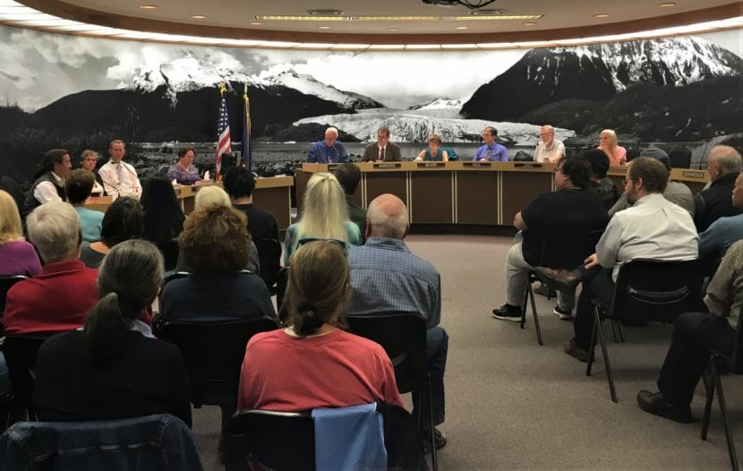Members of the Juneau Assembly listen to public testimony on the New JACC during a Committee of the Whole meeting on Aug. 21, 2018. (Photo by Adelyn Baxter/KTOO)