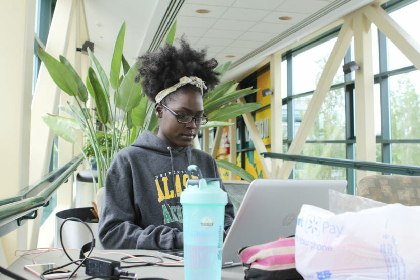 Nyariak Kuany studies for one of her summer final exams at the University of Alaska Anchorage in July 2018. Kuany receives both the Alaska Education Grant and the Alaska Performance Scholarship.