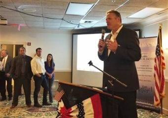 "Mike Dunleavy accepts the presumptive nomination as the Republican Party's candidate for governor on Aug. 21, 2018. ""This is a Republican state. We need to take it back for Republicans,"" he said."