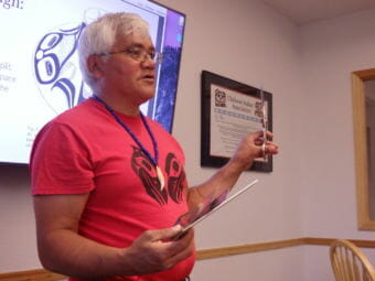 Tlingit artist Wayne Price teaches a formline design class sponsored by SHI in Haines. (Photo by Emily Files/KHNS)