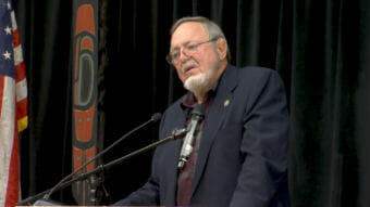 U.S. Rep. Don Young, R-Alaska, speaks at a Native Issues Forum on Wednesday, Aug. 1, 2018, at Elizabeth Peratrovich Hall in Juneau. The forums are put together by the Central Council of Tlingit and Haida Indian Tribes of Alaska.