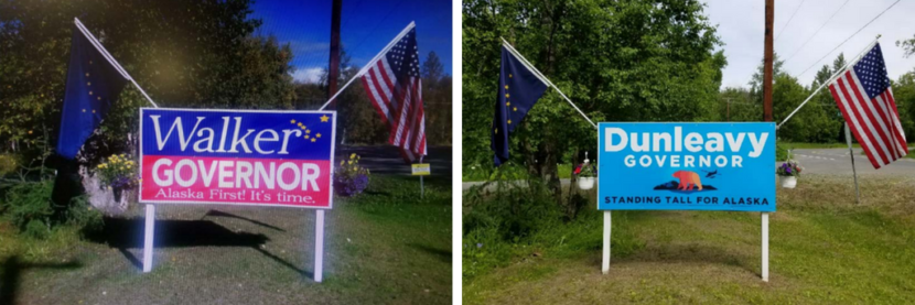 These two photos appear in a lawsuit challenging the state law prohibiting advertising near state highways. Palmer resident Eric Siebels displayed the sign on the left in 2014. He kept the frame in place and displayed the sign on the right this year. The lawsuit says he's concerned the Department of Transportation will remove the Dunleavy sign. (Photos courtesy of Eric Siebels)