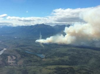 Fire burns near the Stikine River and Sawmill Lake near the community of Telegraph Creek. (Photo courtesy British Columbia Wildfire Service)
