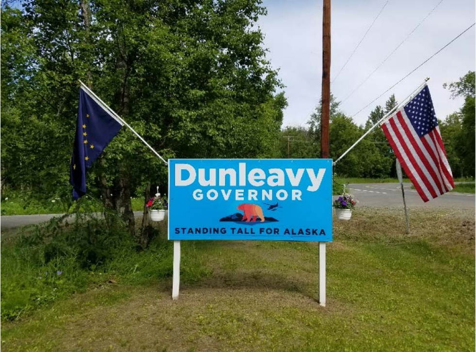 This photo of a Dunleavy for Alaska sign on Palmer resident Eric Siebels' property is included in a lawsuit challenging the state ban on advertising near highways. Siebels joined the lawsuit with the ACLU of Alaska and Dunleavy for Alaska, an independent expenditure group supporting Mike Dunleavy. (Photo included in lawsuit)