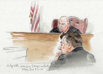 Judge T.S. Ellis III gives jury instructions in front of tax fraud defendant Paul Manafort on Tuesday. (Court rooms sketch by Art Lien)