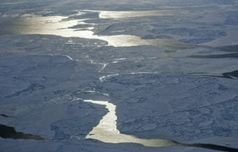 Sea ice is seen from NASA's Operation IceBridge research aircraft off the northwest coast of Greenland on March 30, 2017. (Photo by Mario Tama/Getty Images)