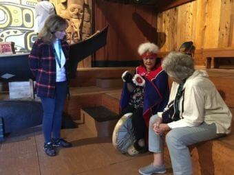 Virginia Oliver performs Tlingit dances and stories for tourists in Wrangell at Chief Shakes' Tribal House. (Photo by June Leffler/ KSTK)