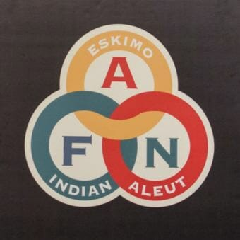 The Alaska Federation of Natives logo, as pictured on the podium of its convention on Oct. 15, 2016.