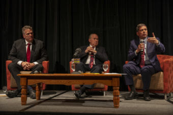 Gubernatorial candidates Mike Dunleavy, Bill Walker, and Mark Begich introduce themselves at a Juneau Chamber of Commerce forum on Thursday, September 6, 2018, in Juneau, Alaska. (Photo by Rashah McChesney/Alaska's Energy Desk)
