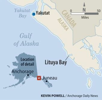 Site of the Lituya Bay helicopter crash. (Graphic by Kevin Powell/Anchorage Daily News)