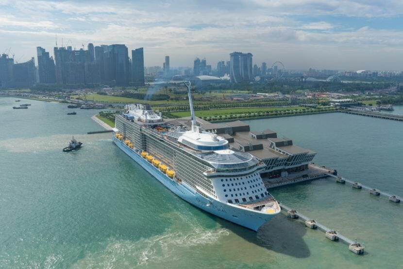 The 1,138-foot Ovation of the Seas, pictured berthed in Singapore, is scheduled to make its first run to Southeast Alaska in May 2019.