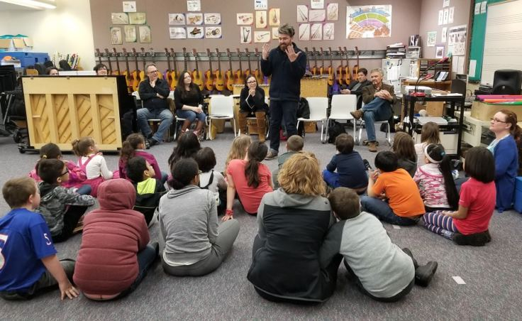 Composer Emerson Eads talks to a class about the opera. (Photo courtesy of Orpheus Project)