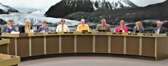 The new Juneau Assembly at its first meeting on Oct. 15, 2018. From left: Mayor Beth Weldon, Maria Gladziszewski, Mary Becker, Jesse Kiehl, Loren Jones, Rob Edwardson, Carole Triem, Michelle Bonnet Hale and Wade Bryson. (Photo by Adelyn Baxter/KTOO)