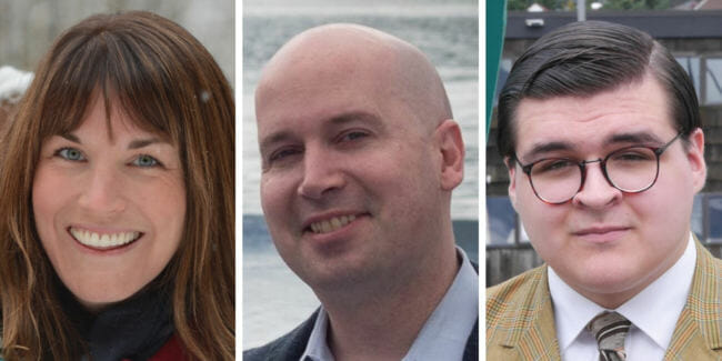 """Elizabeth """"Ebett"""" Siddon, Paul Kelly and Kevin Allen are candidates for Juneau School Board in the Oct. 2, 2018, municipal election."""