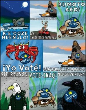 "Pat Race's designs for early voting stickers feature Alaska animals and say ""I voted"" in English, Spanish, Tagalog and several Alaskan Native languages."