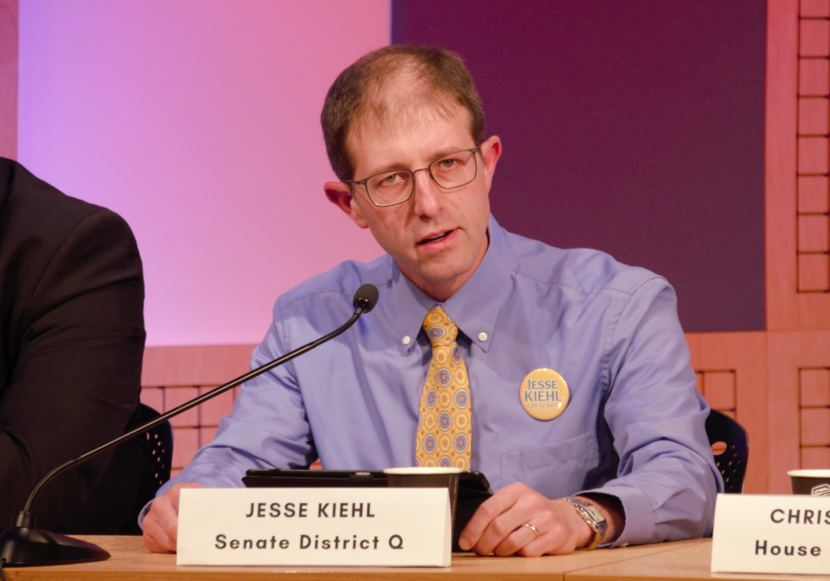 Democratic Senate District Q candidate Jesse Kiehl answers a question during a League of Women Voters of Juneau candidate forum for Juneau-area legislative candidates @360 on Tuesday, Oct. 9, 2018.