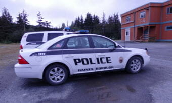 A Haines Borough police vehicle sits in a parking lot.