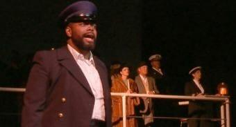 Bernard Holcomb portrays Captain John Leadbetter in the original opera 'The Princess Sophia,' shown here during a dress rehearsal on Oct. 22, 2018. (Video still by David Purdy/KTOO)