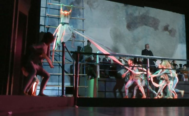 Dancers perform in the original opera 'The Princess Sophia,' shown here during a dress rehearsal on Oct. 22, 2018. (Video still by David Purdy/KTOO)