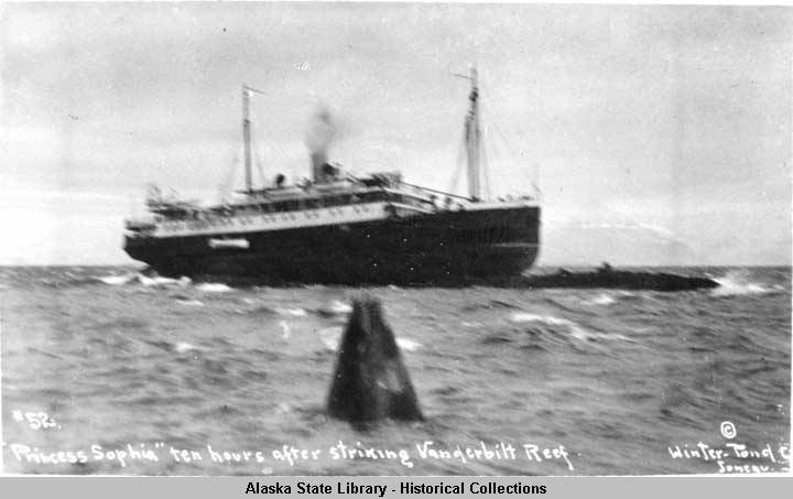 This archival photograph from 1918 shows the Princess Sophia ten hours after striking the Vanderbilt Reef. (Photo courtesy of Alaska State Library)