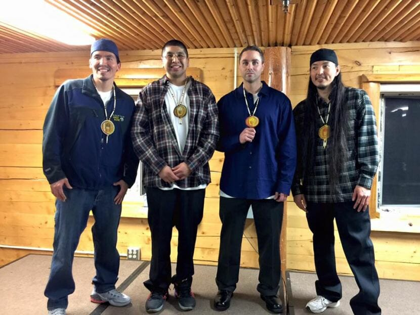 The Fairbanks Four shortly after their release from prison in December 2015. From left to right: Marvin Roberts, Eugene Vent, Kevin Pease and George Frese.