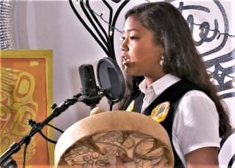 Screenshot of Gabby George-Frank performing during the 208 Red Carpet Concert Celebration Sessions in Juneau.