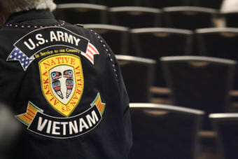 An Alaska Native veteran's vest at the Alaska Federation of Natives convention in Anchorage, October 18, 2018.