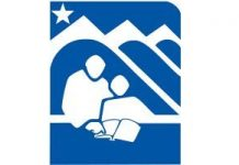 The Anchorage School District logo depicts in blue and white an adult helping a student read a book in front of three mountains with a star overhead.