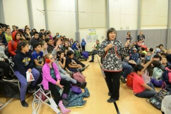 Lt. Gov. Valerie Davidson speaking at an assembly at Gladys Jung Elementary School in Bethel on Thursday, November 15, 2018.