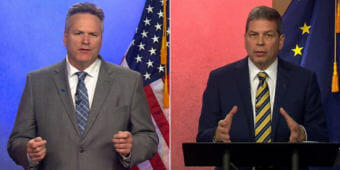 Republican Mike Dunleavy, left, and Democrat Mark Begich participate in a debate Thursday, Oct. 25, 2018, hosted by Alaska Public Media and KTUU Channel 2.