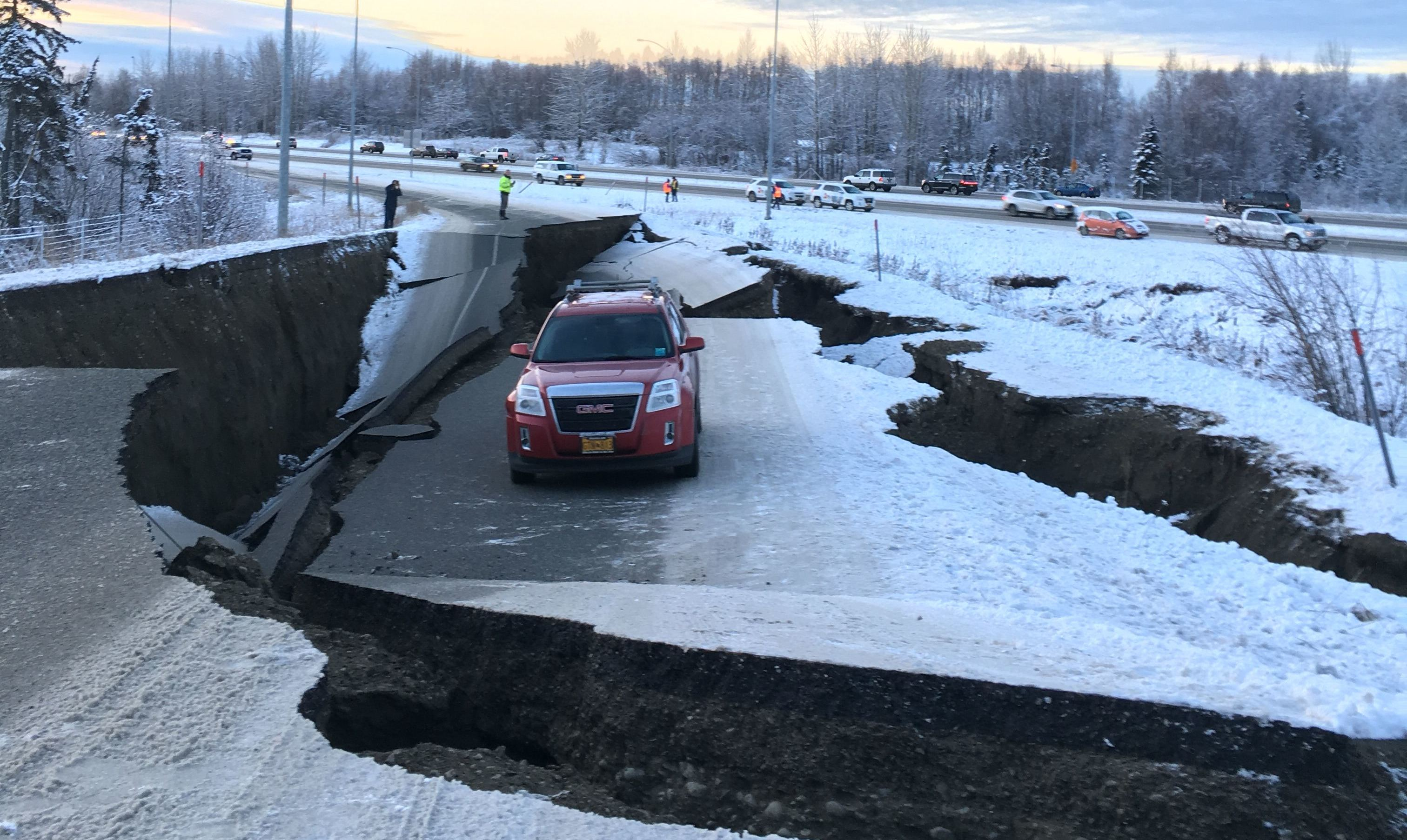 Major earthquake damages buildings and roads in Anchorage