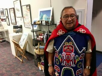 Jim Thomas, Khatsati, Shaayegun in his Tlingit regalia at the Voices of Our Ancestors language summit in Nov. 2018. (Photo by Zoe Grueskin/KTOO)