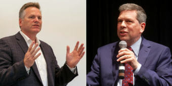 Republican Mike Dunleavy, left, and Democrat Mark Begich are the two main candidates for governor.