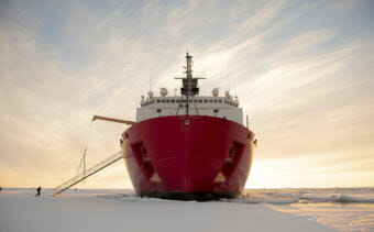 The U.S. Coast Guard Cutter Healy (WAGB-20) is in the ice Wednesday, Oct. 3, 2018, about 715 miles north of Barrow, Alaska, in the Arctic.