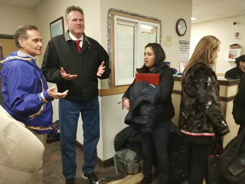Gov.-elect Mike Dunleavy and Lt. Gov-elect Kevin Meyer meet at the Ralph Wien Memorial Airport in Kotzebue. Dunleavy had planned on being sworn into office in Noorvik, but weather conditions precluded his arrival. The new plan was for Dunleavy to be sworn in at the Kotzebue Middle School instead.