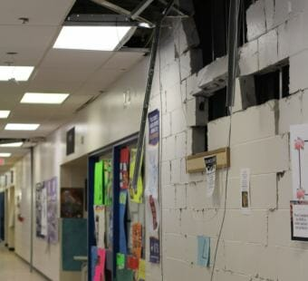 Parts of the walls at Hanshew Middle School in Anchorage fell to the floor during the earthquake on Friday, Nov. 30, 2018.