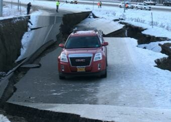 The Minnesota Dr. airport off-ramp buckled by an earthquake in Anchorage, Alaska, on Nov. 30, 2018. (Photo by Nat Herz/Alaska's Energy Desk)
