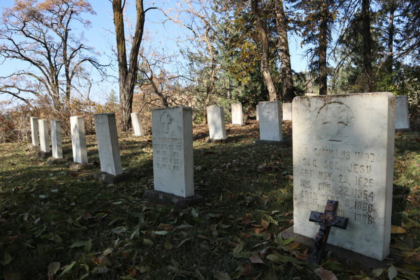 Gravestones at the Mount St. Michael cemetery in Spokane, Washington, where James Poole is buried amid 54 other Jesuits also accused of sexual abuse.
