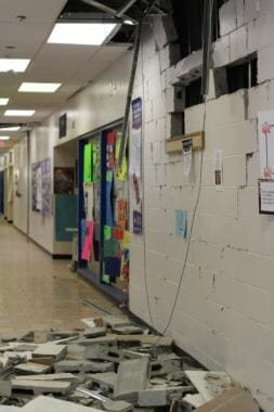 Parts of the walls at King Tech High School fell to the floor during the earthquake on Friday.