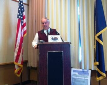 Former Ketchikan School District Superintendent Robert Boyle speaks during a Ketchikan Chamber of Commerce lunch.
