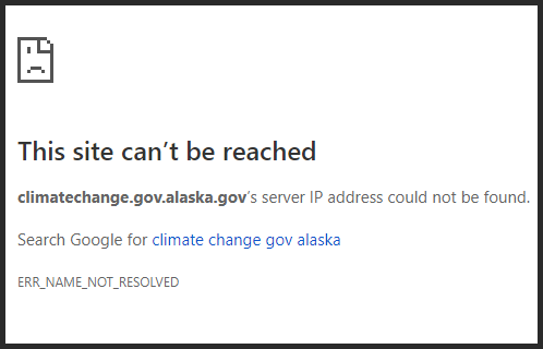As of Dec. 3, this is the message you'll see if you try to visit climatechange.gov.alaska.gov.